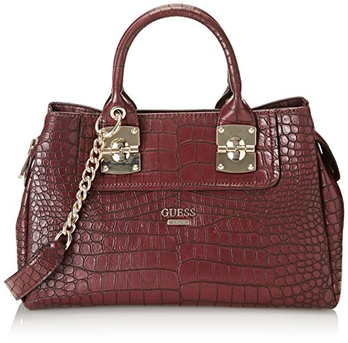 GUESS Frankee Croco Girlfriend Satchel, Bordeaux by GUESS