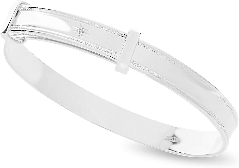 925 Sterling Silver Newborn Baby Christening Bracelet Adjustable Birthday Gift Bangle with Tiny Diamond