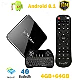 H96 Max X2 TV Box Android 8.1 4GB DDR4 Ram 64GB ROM EstgoSZ 4K Smart Android Box Amlogic S905 X2 CPU HDMI2.1 H265 2.4G 5.0G WiFi 100M LAN BT4.0 USB3.0 Android TV Box with Backlit Wireless Keyboard