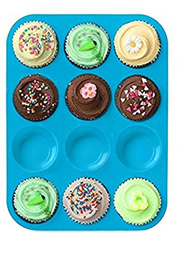 Bessmate Silicone Muffin Pan -12 Cups Blue Mold & Baking Tray- Reusable, Non-Stick Bakeware For Cupcakes and Cakes,Dishwasher/Microwave ()