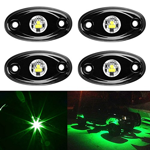 (Amak 4 Pods LED Rock Light Kit for Jeep ATV SUV Offroad Car Truck Boat Underbody Glow Trail Rig Lamp Underglow LED Neon Lights Waterproof -Green)