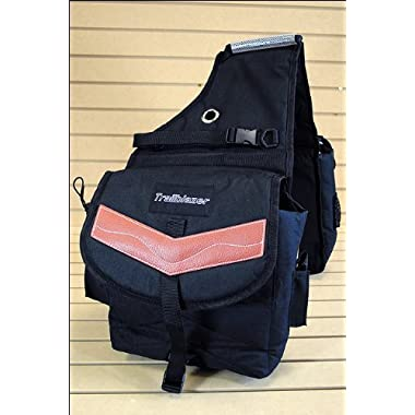 Black 600d Poly Deluxe Horse Trail Riding Saddle Bag Pack Water Bottles