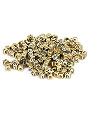 Square Letters Beads, Jewelry Accessories 500PCs Acrylic Beads, Handicraft DIY Material, DIY Accessary for Home Bracelet Jewelry Decor(Golden)
