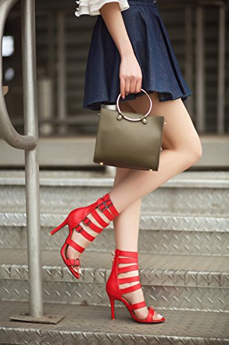 Verano Size De De De Las Sandalias Gladiator Del Tacón Delgado Plus Toe Peep Sandalias Party Dress Hebilla Mujeres Aguja Red Pumps Shoes De Tacón Sqw7xdd1C