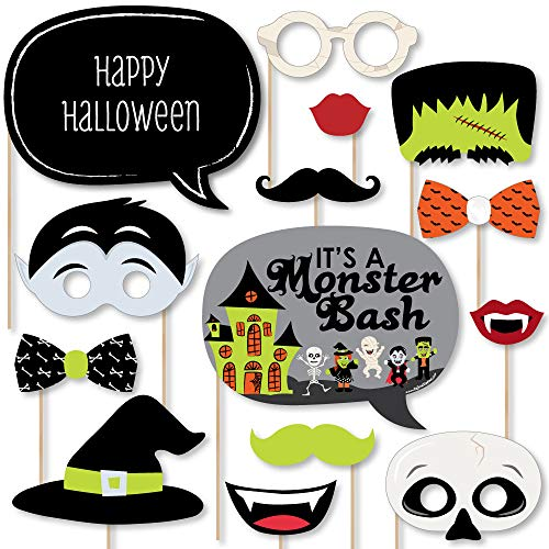 Big Dot of Happiness Halloween Monsters - Halloween Party Photo Booth Props Kit - 20 Count -
