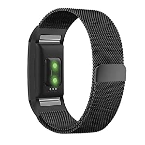 Fitbit Charge 2 Band, UMTELE Milanese Loop Stainless Steel Metal Bracelet Strap with Unique Magnet Lock, No Buckle Needed for Fitbit Charge 2 HR Fitness Tracker Black