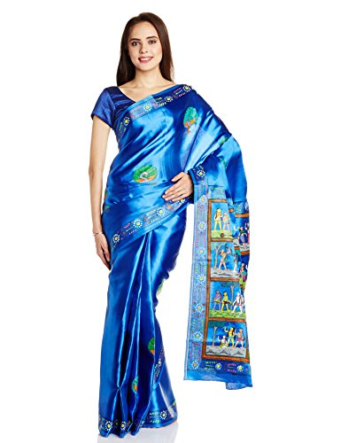 IndusDiva Patchitra Hand-Painted  Saree (BLR1750245_Blue_Free Size)