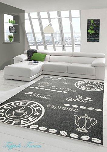 Teppich Modern Flachgewebe Sisal Optik Küchenteppich Küchenläufer Coffee Schwarz Weiss Größe 120x170 cm