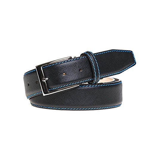 Black Italian Saffiano Leather Belt by Roger Ximenez: Bespoke Maker of Fine Leather Goods