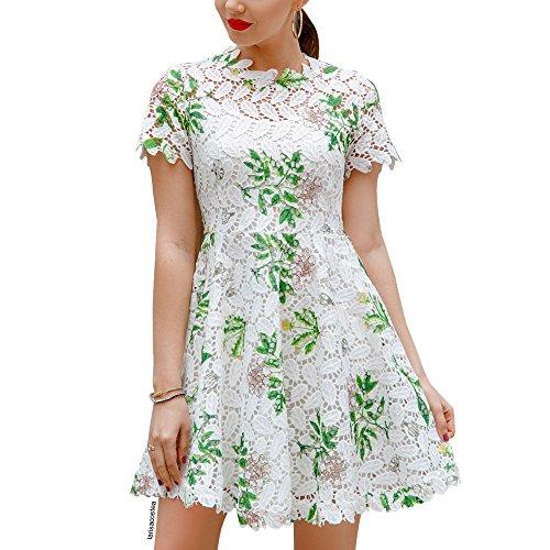 Chicwish Women's Wildflower Pattern Full Crochet Short Sleeves Flare Dress White