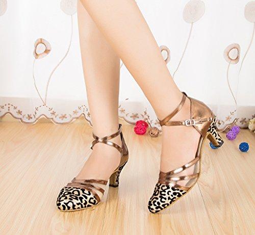 Crc Para Mujer Con Estilo Punta Redonda Malla Sparkle Material Salón De Baile Sintético Morden Salsa Tango Latino Fiesta De La Boda Zapatos De Baile Profesional Oro
