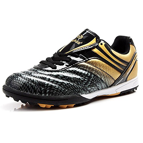 Tiebao Men's Hard Ground Indoor Speed Patent Leather Football Shoes M1216(Black&Gold,8.5 M US)