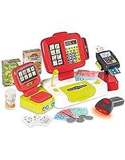 Smoby - Elektronische kassa van supermarkt XL - speelkassa met rekenfunctie, licht- en geluidsgeluiden en veel accessoires, voor kinderen vanaf 3 jaar, rood