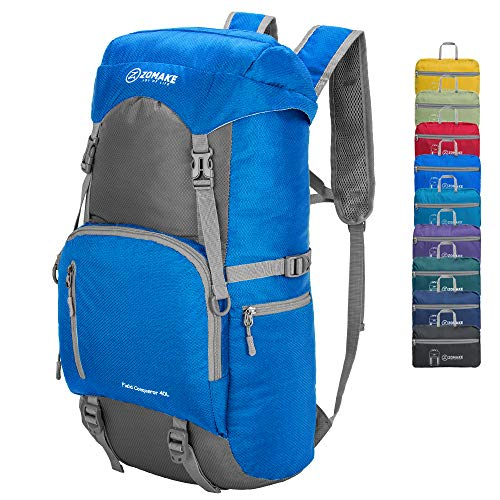 ZOMAKE 40L Water Resistant Hiking Daypack, Lightweight Packable Travel Backpack for Outdoor, Camping, Trekking from ZOMAKE