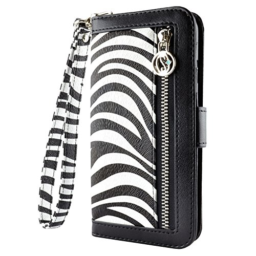 - Leather Wallet Stand Flip Case, Credit Card Cash Pockets Cover (Zebra, iPhone 6 Plus)
