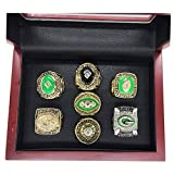 AMOH JERCY Green Bay Packers Super Bowl XLV 2010 Replica Championship Ring - Aaron Rodgers (7 Rings Set with Wooden Box, 11)