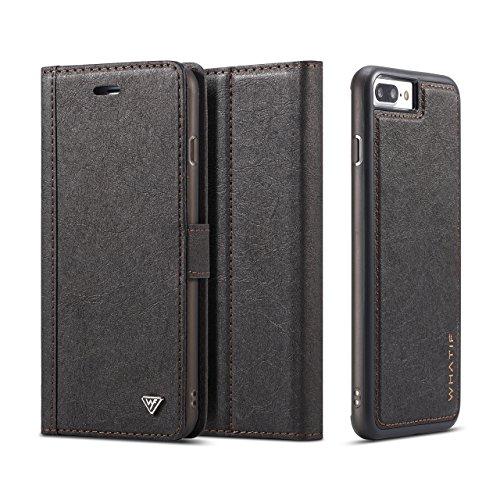 iPhone 8 Plus Case,AKHVRS iPhone 8 Plus Wallet Leather ID Card Slots Case With Wallet Card Storage Flip Diary [Detachable Wallet Folio][Premium Kraft paper] for iPhone 7Plus/8Plus - Black