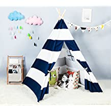 Steegic Foldable Cotton Canvas Indian Teepee Kid Play Tent for Children Playhouse-Blue and White Stripe