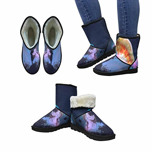 InterestPrint Womens Snow Boots Silhouette Girl Looking at Giant Jellyfish Floating In The Sky Unique Designed Comfort Winter Boots Multi 1 PClN6GOyPv
