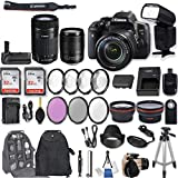 Canon EOS Rebel T6i DSLR Camera EF-S 18-135mm f/3.5-5.6 is STM Lens + EF-S 55-250mm f/4-5.6 is STM Lens + 2Pcs 32GB Sandisk SD Memory + Universal Flash + Battery Grip + Filter & Macro Kits + More