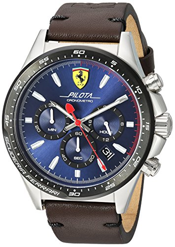 Ferrari Men's 'Pilota' Quartz Stainless Steel and Leather Casual Watch, Color:Brown (Model: 830435)