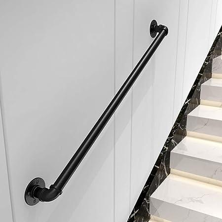 Barandillas de escalera de seguridad Barandilla de barandilla de hierro negro, barandas interiores para ancianos Barras de apoyo Barra de soporte del pasillo, barra de agarre de barandilla de alta re: Amazon.es: