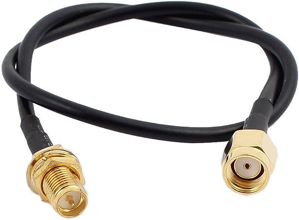 sourcing map 30cm RG174 Cable de Extensión de Antena Cable RP-SMA Hembra a RP-SMA Macho