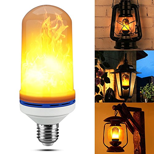 KKMOOU LED Flame Effect Fire Light Bulbs E26 105pcs SMD2835 Beads Creative Lights with Flickering Emulation Vintage Atmosphere Decorative Lamps Simulated Nature Gas Fire in Antique Hurricane Lantern ()