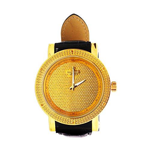 Mens Genuine Diamond Gold Finish Round Big Face Leather Band (Face Diamond Watch)