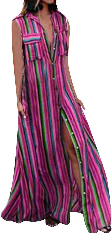 Women Spaghetti Strap Maxi Sling Dress Tie-Dye Stripes V-Neck Flowy Sundress 5XL