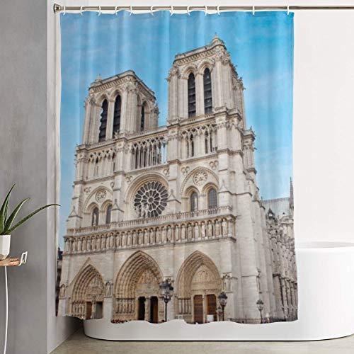 Mikonsu Lihna Shower Curtain with Hooks Notre Dame Paris and Blue Sky Art Bathroom Decor Bath Curtain-60x70 in]()