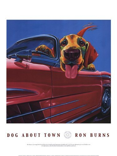Dog About Town - Art Poster Print by Ron Burns (Overall Size: 18x24) (Image Size: 16x16)