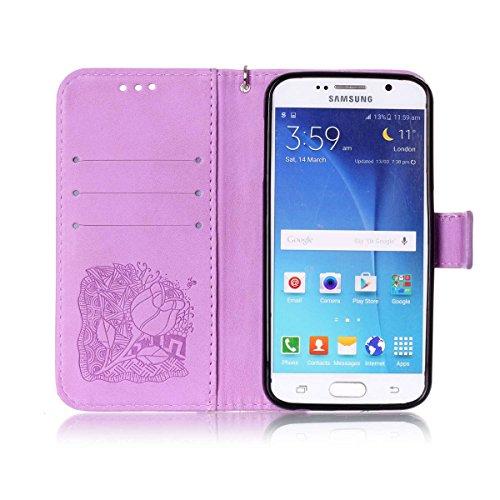Funda Galaxy S6, Carcasa Plegable para Galaxy S6, Funda de piel Galaxy S6, Lifetrut Sólido Shiny Sparkle libro de estilo funda de cuero con ranura para tarjetas de cierre magnético soporte funda de te E212-Flor de rosa en púrpura