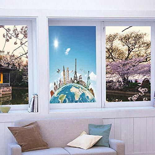 (Stained Glass Window Film,Travel,for Bathroom Shower Door Heat Cotrol Anti UV,Famous Monuments of Pisa Taj Mahal Giza)