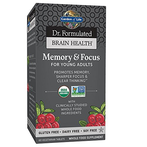 Garden of Life Dr. Formulated Organic Brain Health Memory & Focus for Teens and Young Adults 60 Tablets (Best Brain Vitamins For Adults)