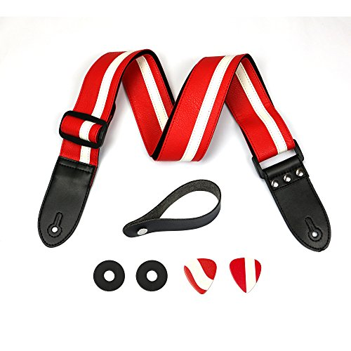 Red Leather Guitar Strap - Racing Stripe Bass, Electric & Acoustic Guitar Shoulder Strap With Guitar Picks, Strap Locker & Attachment Strings - Fully Adjustable & Comfortable - Gift For Guitarist