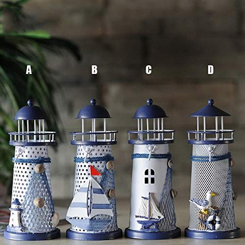 Candle Holders - Mediterranean Style Iron Lighthouse Decoration Tinsel Household Ornaments Creative 14cm Candlestick - Mercury Nordic Decoration Zen Weddings Clear Industrial Thanksgiving Aluminu (Lighthouse Pillar)