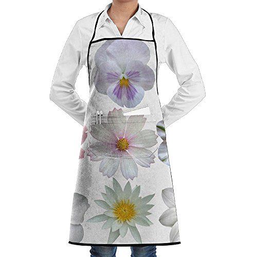 SmallTing Set Of White Spring Flowers Classic Servers Black One Size Apron With Pockets Adjustable