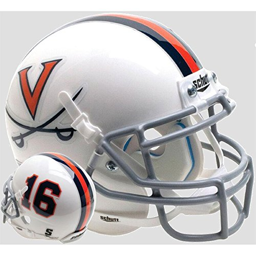 Virginia Cavaliers White 16 Officially Licensed Full Size XP Replica Football Helmet