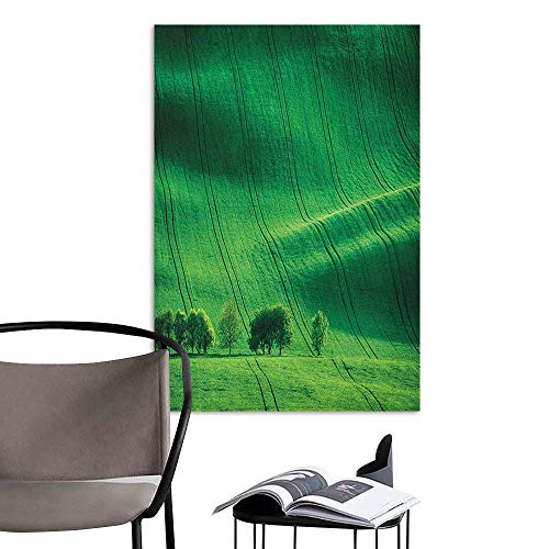 (Camerofn 3D Murals Stickers Wall Decals Europe Rolling Sunny Hills with Meadow Fields and Trees Southern Moravia Czech Republic Print Emerald Bedroom Bedside Wall W20 x H28)