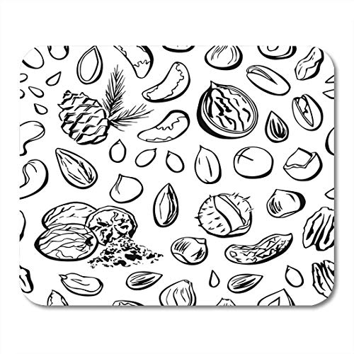 Mouse Pads Nuts and Seeds with Black Outline on White Almond Cashew Peanut Walnut Pecan Macadamia Brazil Hazelnut Mouse Pad for notebooks,Desktop Computers mats 7.08 (L)x 8.66 (W) inch Office - String A On Walnuts