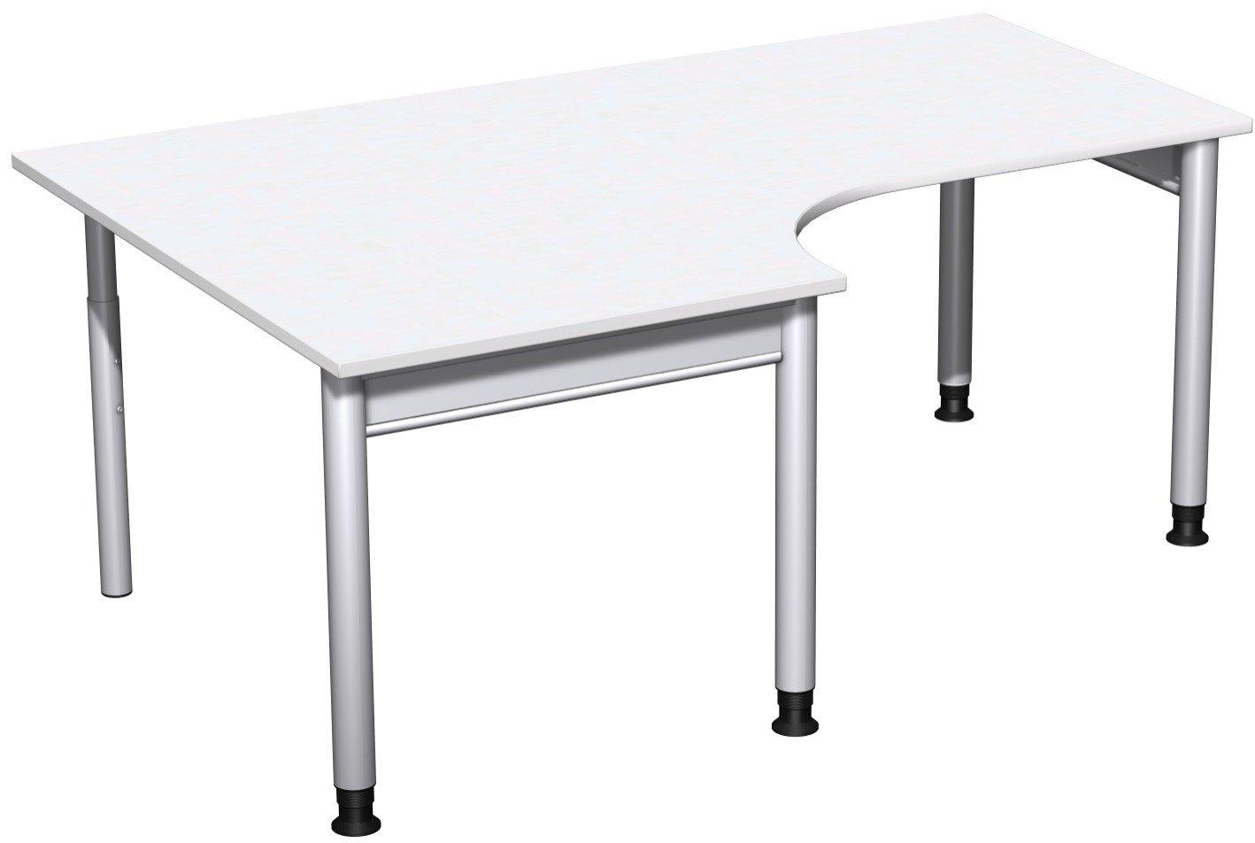Geramöbel PC-Schreibtisch links höhenverstellbar, 1800x1200x680-820, Weiß/Silber