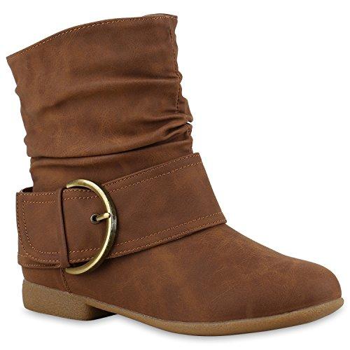 Stiefelparadies Damen Schlupfstiefel Wildleder-Optik Stiefel Schnallen Schuhe Boots Gefütterte Stiefeletten Flandell Hellbraun Braun Gold