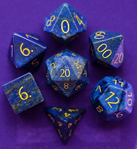 Engraved Lapis Lazuli Gemstone Polyhedral Dice Set: Hand Carved Full-Sized 16mm. Great for DND RPG Dungeons and Dragons (Stone Carved Dice)