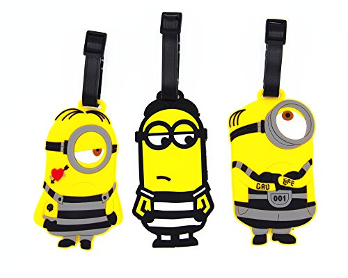 CellDesigns Set of 3 Minions Luggage Tag Suitcase ID Tag with Adjustable Strap (Minions in Prison) -