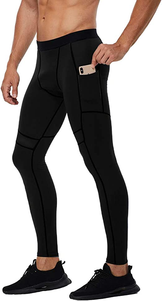 FTEIF Men Breathable Compression Fitness Tight Pants Running Outdoor Sports Elastic Leggings