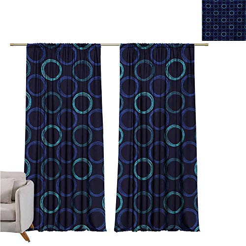 RuppertTextile Geometric Drapes for LivingRoom Scribble Art Style Circles Ring Shapes on Dark Background Noise Reducing W120 x L108 Dark Blue Violet Blue Pale Blue