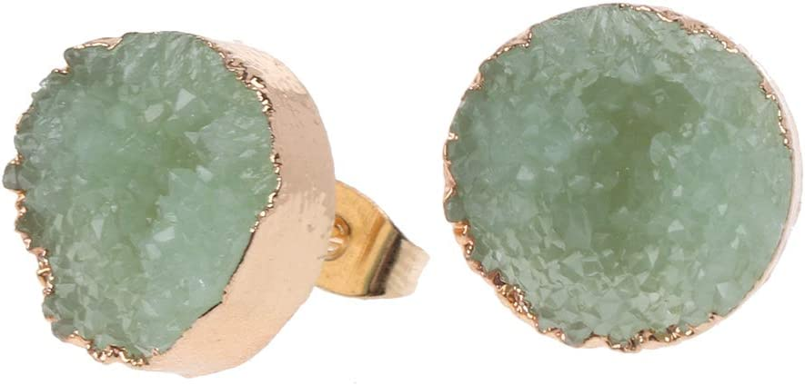 ZOOMY Druzy Stone Stud Pendientes Mujeres Irregular Natural Cuarzo Geoda Cristal Joyas - Verde