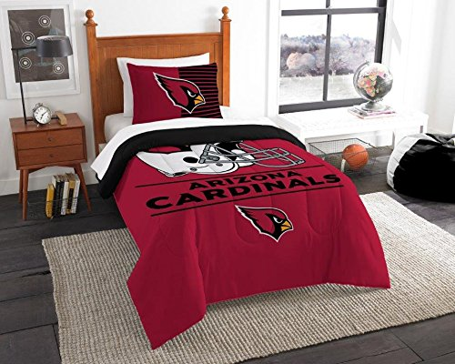 Arizona Cardinals - 2 Piece TWIN Size Printed Comforter Set - Entire Set Includes: 1 Twin Comforter (64
