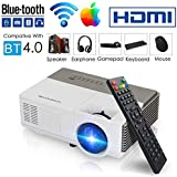 Pocket Bluetooth Wifi Wireless Mini Projector 1500lumen, HDMI Built-in Speaker Support 1080p HD Airplay Screen Mirror, Multimedia Digital Portable Video Projector for Gaming Basement Movie Art Tracing